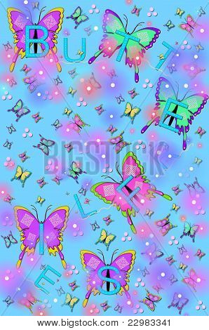 Bling, Butterflies And Bugs Blue