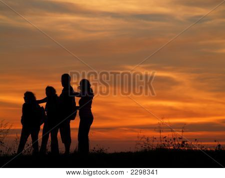 Sunset Silhouette Family