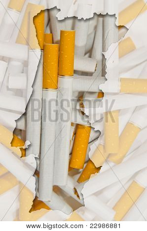 Outline Map Of Portugal With Transparent Cigarettes In Background