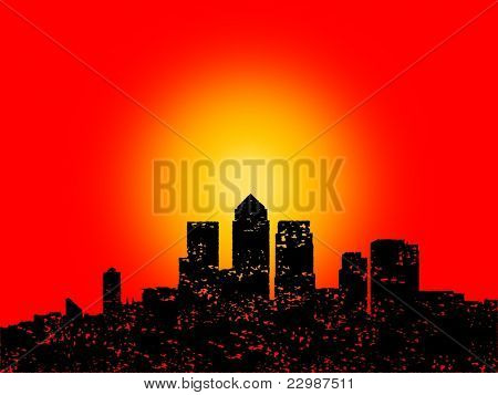 Grunge London Docklands skyline with abstract sunset illustration