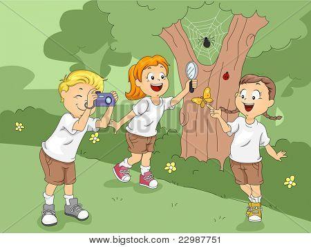 Ilustração de crianças explorando um campo