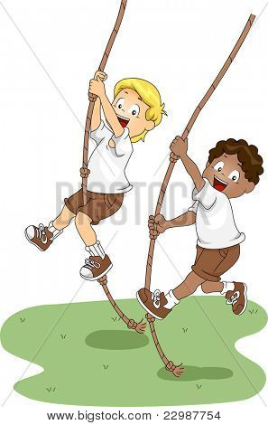 Illustration of Kids Holding on to Swinging Ropes
