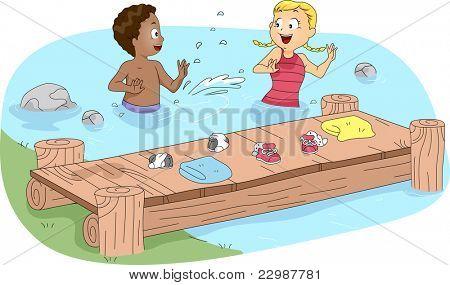 Ilustração de crianças natação