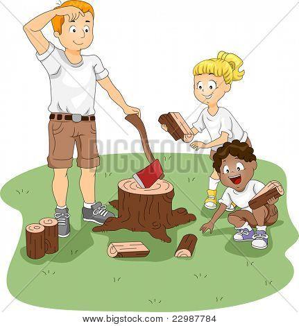 Ilustração de crianças recolhendo lenha