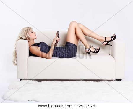 Blond Girl With Smartphone