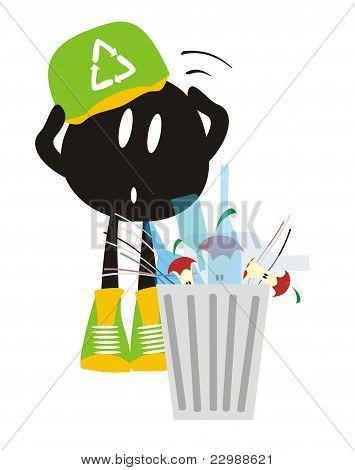 Cartoon, Störung Abfall recyceln