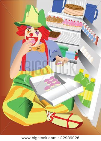 Clown eating cupcakes
