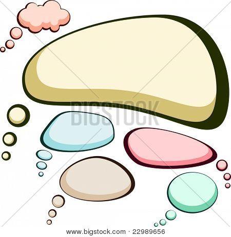 Set of comic style speech color bubbles. Vector illustration.