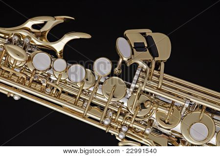 Saxophone Soprano Isolated On Black