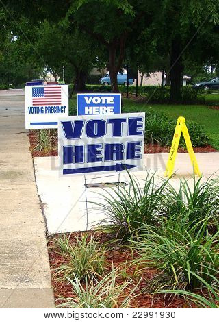 Voting place signs election day