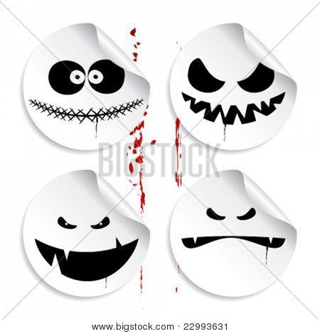 Emoticons de monstro no fundo do sangue, um conjunto de autocolantes de halloween.