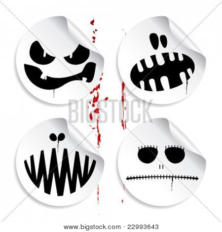 Emoticons de monstro no fundo do sangue, um conjunto de autocolantes de halloween.
