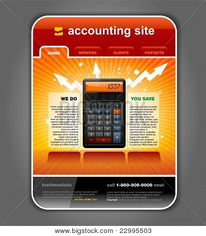 Finance Accounting Internet Web Site Page Template Vector