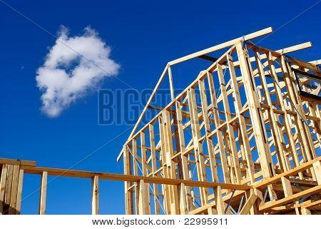 Detail van huis Frame in aanbouw