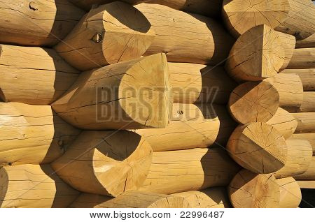 Wood Constructed Wall Of An Rural Old Style Cabin