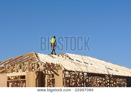 Carpenter Working On The Roof