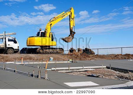 Bau auf einem Bürgersteig, neue