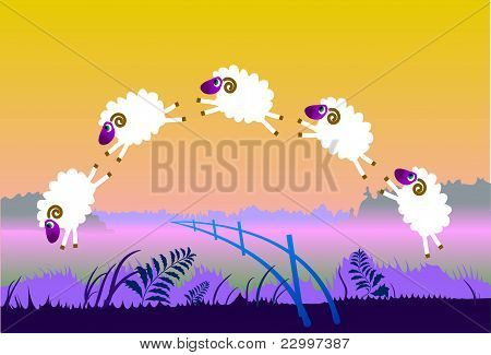 Sheeps Jump Over Fence