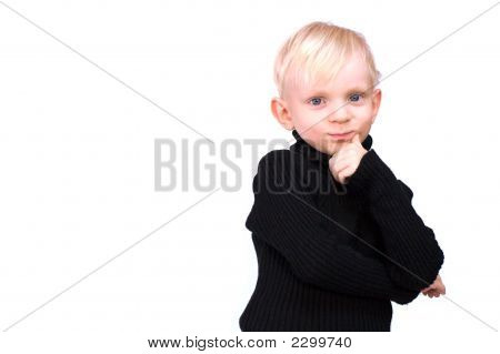 Beautiful Serious Little Boy