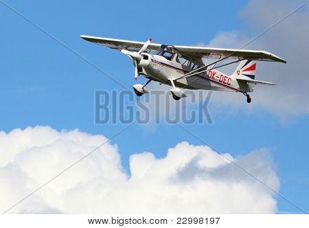 PILSEN, CZECH REPUBLIC - AUGUST 28: American  aerobatic plane Bellanca Decathlon, Pilsen Aeronautical Days on August 28, 2011 in Pilsen CZECH REPUBLIC.