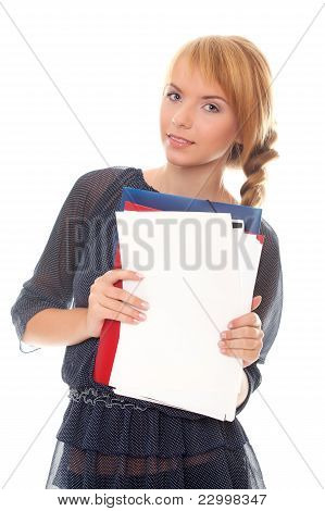 Young Woman Holds Folders And Documents
