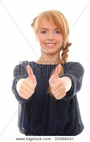 Teenager Showing Two Hands Sign Good