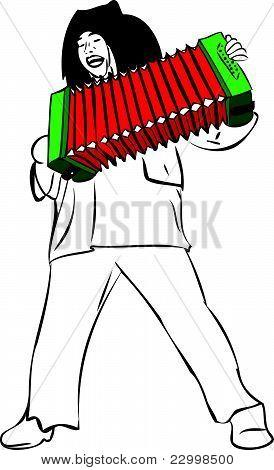 um homem canta e toca acordeão