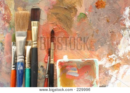 Studio Brushes And Palette