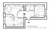 Architectural Plan Of A House. Layout Of The Apartment Top View With The Furniture In The Drawing Vi poster