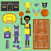 Basketball Player Sport Vector Elements Professional Set. Game Competition Basketball Team Recreatio poster