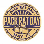 Pack Rat Day, May 17, Rubber Stamp, Vector Illustration poster
