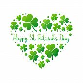 Happy St. Patricks Day Heart Made Of Bright Green Small Shamrocks Or Clovers On White Background. Ve poster