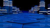 Futuristic Concept Of Server Room In Datacenter. Big Data Storage, Server Racks With Neon Lights On  poster