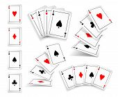 Several Variants Set Of Four Aces Deck Of Cards For Playing Poker And Casino. Four Aces Of Diamonds, poster