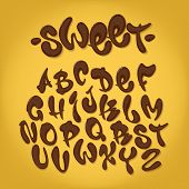 Chocolate Hand Drawn Typeset, Sweet Alphabet, Vector Illustration. Abc poster