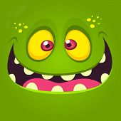 Happy Cartoon Monster Face. Vector Halloween Illustration Of Green Excited Monster Or Zombie poster