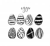 Hand Drawn Vector Abstract Sketch Ink Graphic Scandinavian Shabby Happy Easter Cute Simple Scandinav poster
