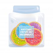 Frosted Sugar Cookies, National Pastry Day December 9, Italian Freshly Baked Biscuit In Jar With Pin poster