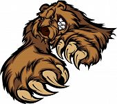 foto of growl  - Bear Mascot Snarling Reaching with Claws and Paws Vector Image - JPG