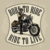 Man In The Motorcycle Helmet And Glasses Riding A Classic Chopper Bike. Side View. Born To Ride, Rid poster