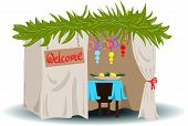 stock photo of sukkot  - A Vector illustration of a Sukkah decorated with ornaments for the Jewish Holiday Sukkot - JPG
