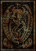 Zodiac Sign Bull On Black Texture Background. Hand Drawn Fantasy Graphic Illustration In Frame. Hand poster