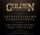 80s Retro Elegant Gold Colored Metal Chrome Alphabet Font. Typography Classic Style Golden Font Set  poster