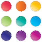 foto of starburst  - A Collection of Vibrant Rainbow Colored Vector Buttons - JPG