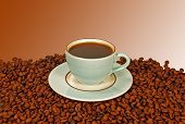 stock photo of high-octane  - Image of a coffee cup filled with black coffee with matching saucer resting on coffee beans - JPG