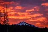 Fiery Sky Above Bow Valley, Alberta Province, Winter Morning In Canada, Freezing Morning With Fire O poster