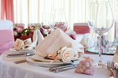 foto of wedding table decor  - Table set for a wedding dinner - JPG