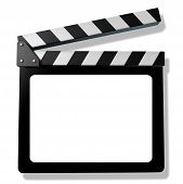 stock photo of production  - Blank Film slate or clapboard representing film and cinema announcement productions and hollywood reviews of new movies and television shows - JPG