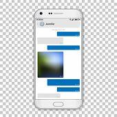 Chat Messenger On Phone Screen, Vector Editable Resizable Illustration. High Detailed Quality White  poster