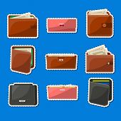 Various Leather Purses Labels Set. Wallets And Clutches For Men And Women With Banknotes And Credit  poster